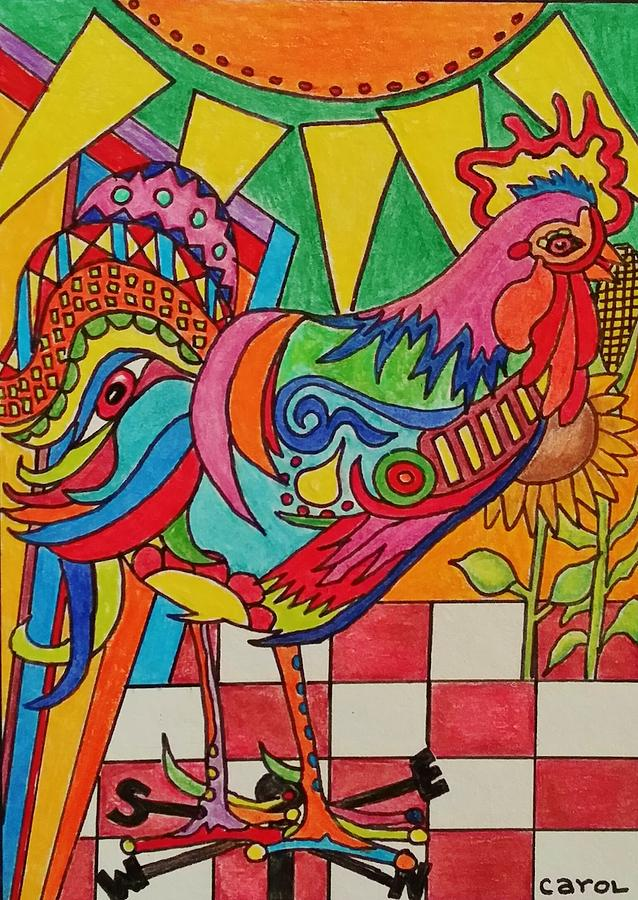 Colorful Drawing - Rooster On Lookout  by Carol Hamby
