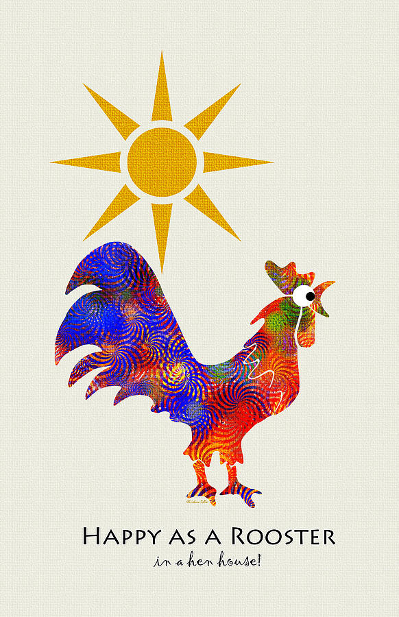 Rooster Pattern Art Mixed Media