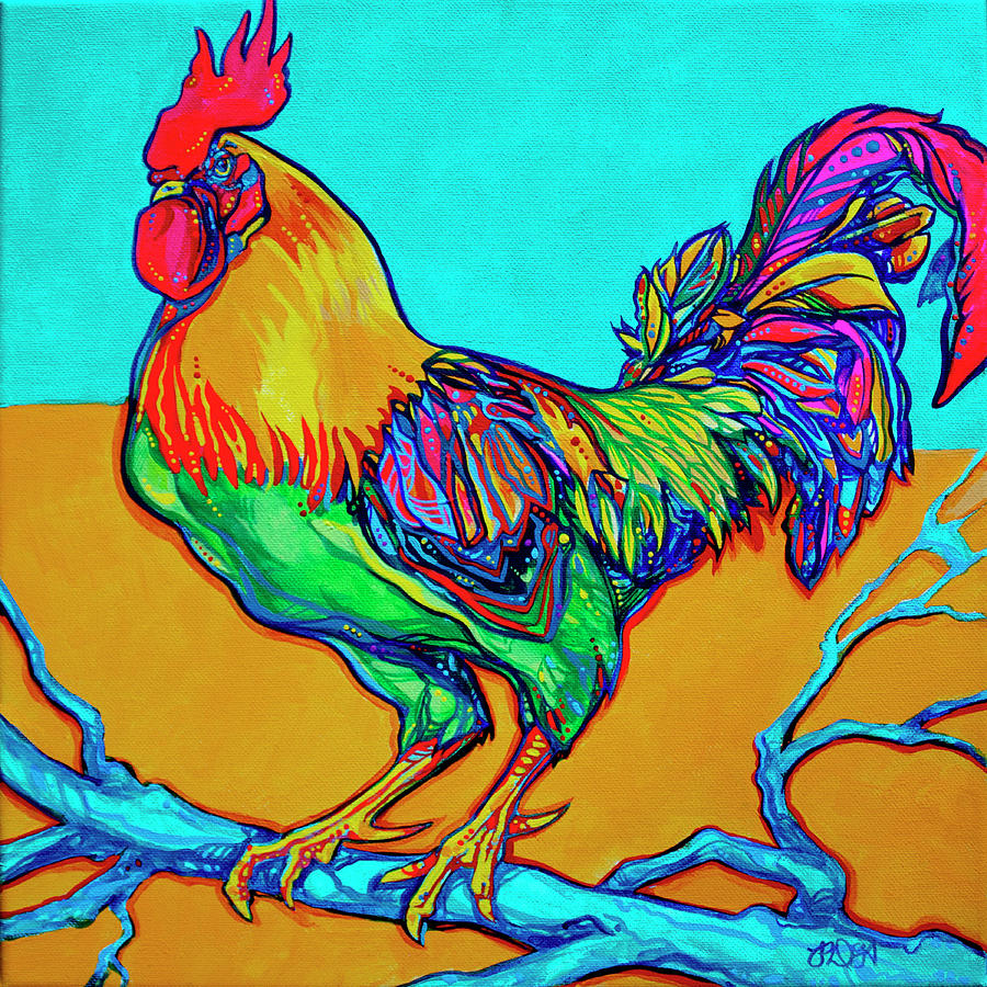 Rooster Painting - Rooster Perch by Derrick Higgins