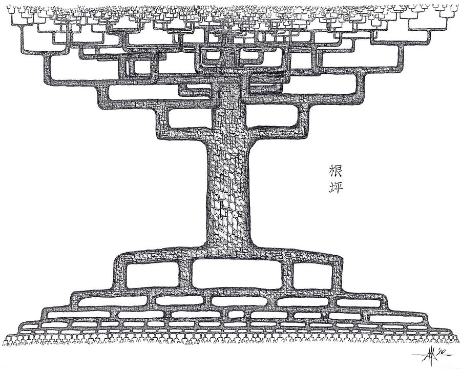 Tree Drawing - Root Squared by Robert Fenwick May Jr