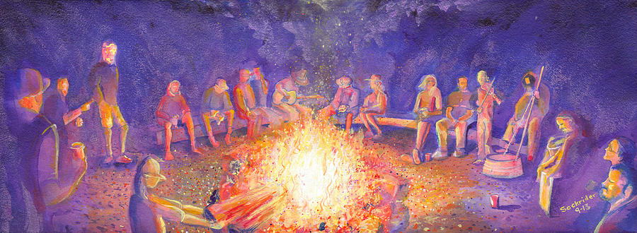 Summit County Painting - Roots Retreat Campfire Jam by David Sockrider