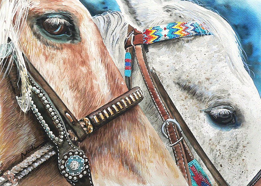 Horse Painting - Roping Horses by Nadi Spencer