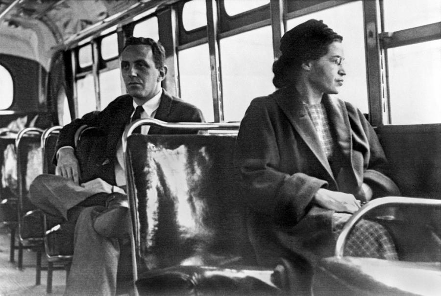 1956 Photograph - Rosa Parks On Bus by Underwood Archives
