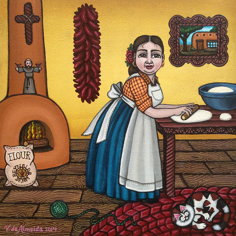 Cook Painting - Rosas Kitchen by Victoria De Almeida