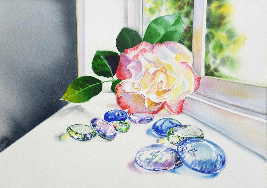 Glass Painting - Rose And Glass Rocks by Irina Sztukowski