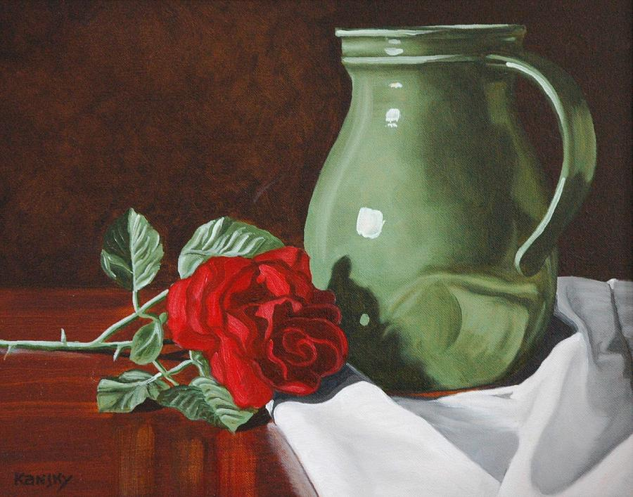 Rose Flower Painting - Rose And Green Jug Still Life by Daniel Kansky