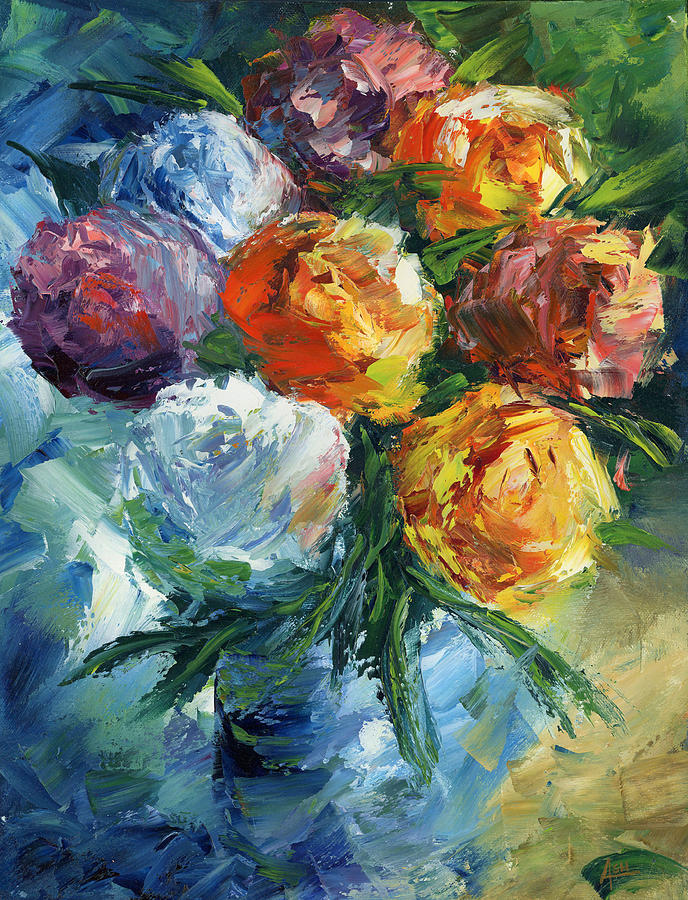 Rose Bouquet Painting by Ash Hussein