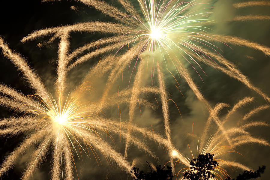 Fireworks Photograph - Rose Bowl Fireworks by Rollie Robles