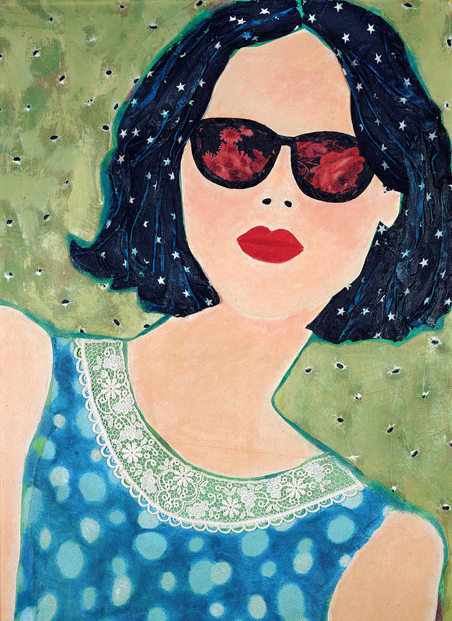 Red Lips Mixed Media - Rose Coloured Glasses I by Diane Fine