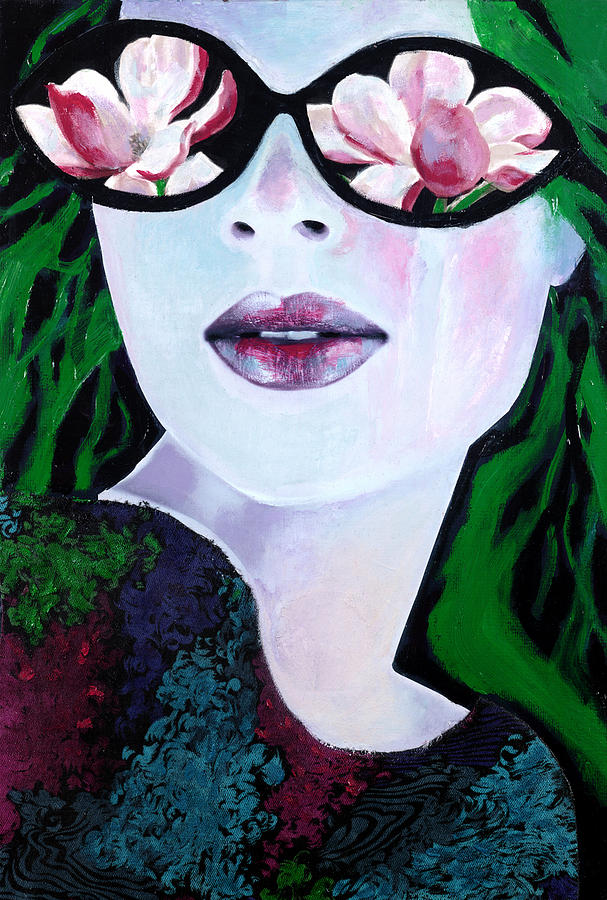 Mixed Media Collage Mixed Media - Rose Coloured Glassesii by Diane Fine