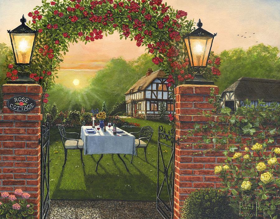 Landscape Painting - Rose Cottage - Dinner For Two by Richard Harpum