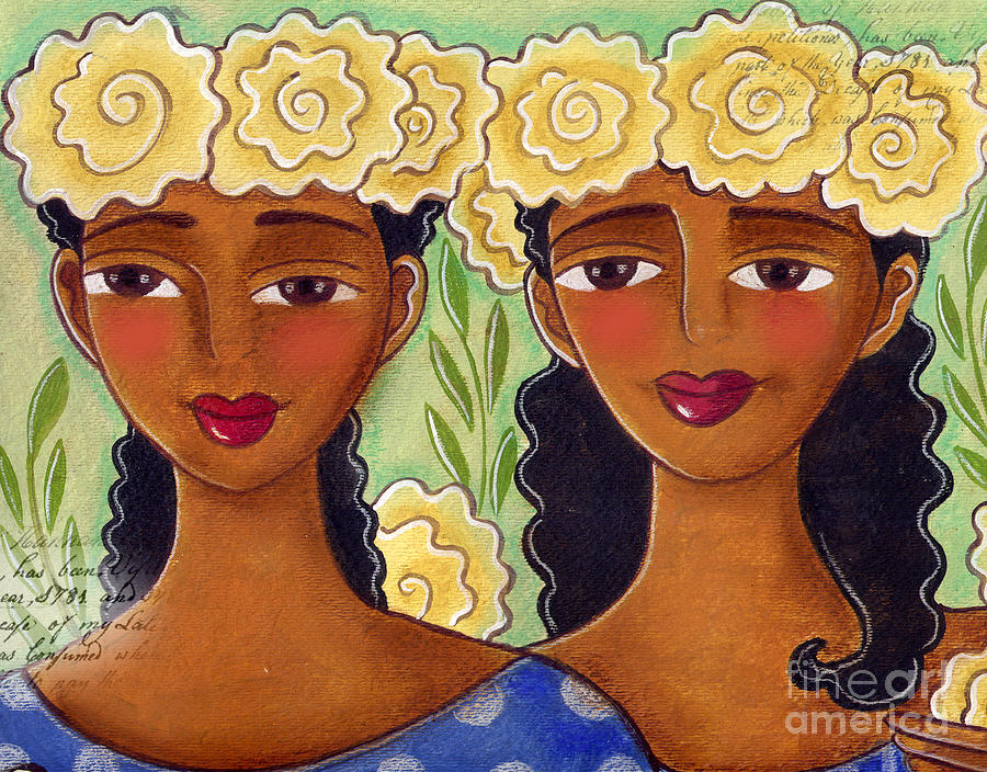 Yellow Roses Painting - Rose Crown Sisiters by Elaine Jackson
