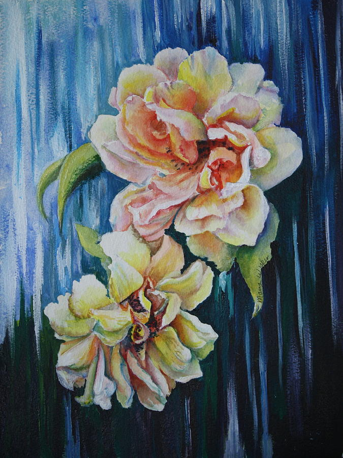 Roses Painting - Rose Duo by Mary Beglau Wykes