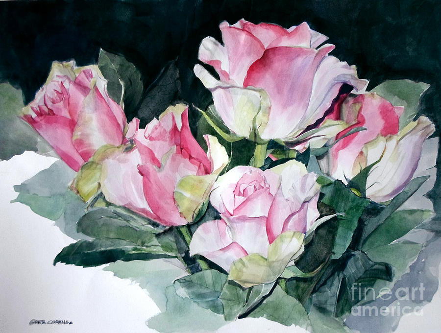 Watercolor of a Pink Rose Bouquet Celebrating Ezio Pinza by Greta Corens