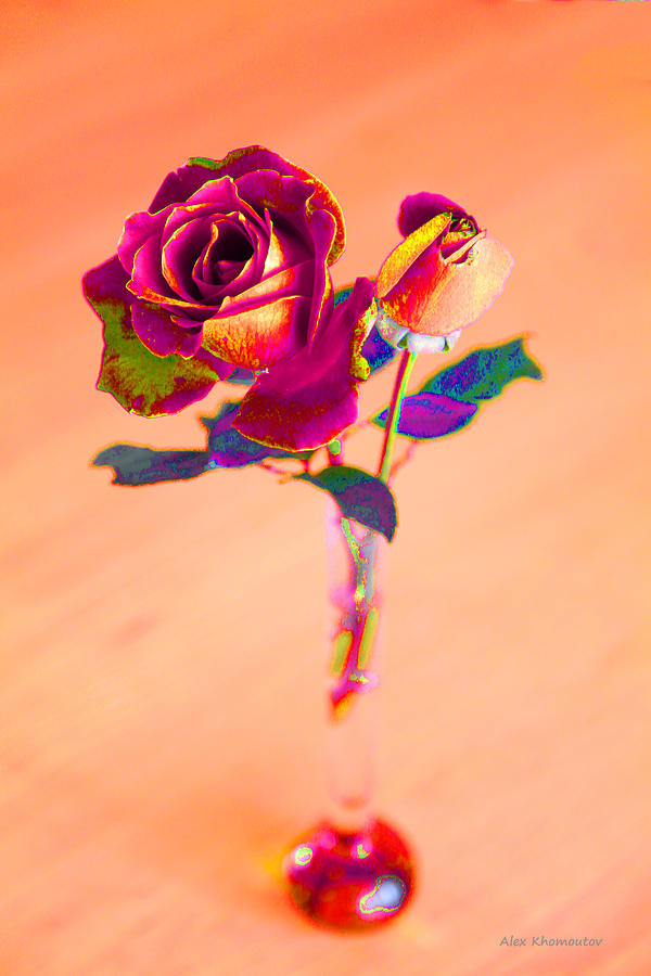 Red Rose Photograph - Rose For Love - Metaphysical Energy Art Print by Alex Khomoutov