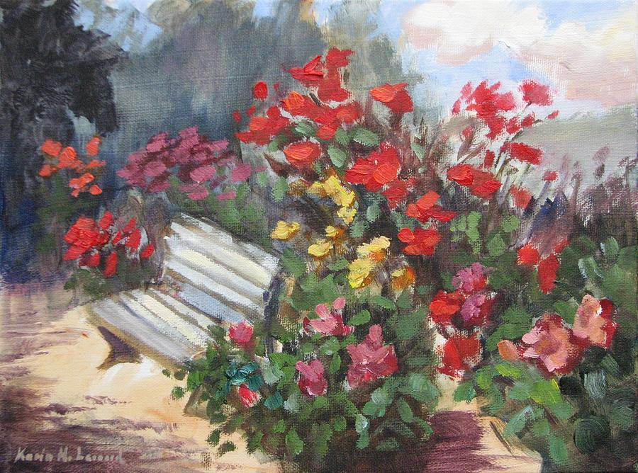Rose Garden Painting By Karin Leonard