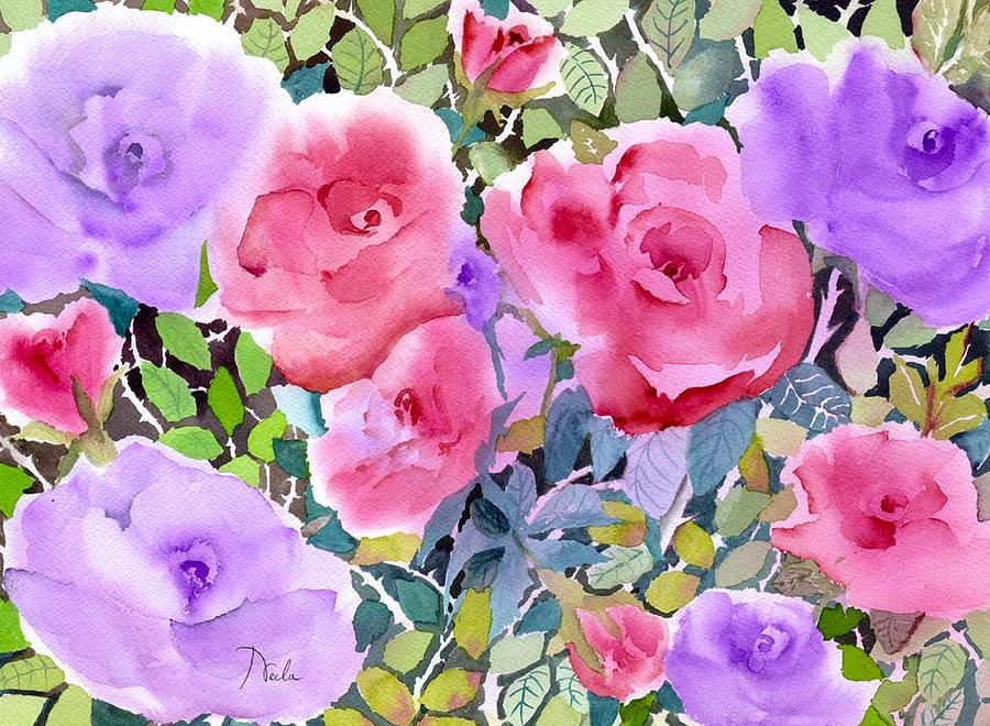 Green Painting - Rose Garden by Neela Pushparaj
