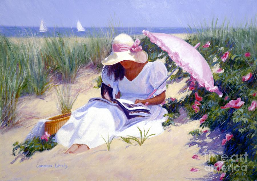 Nantucket Painting - Rose Garden Reader by Candace Lovely