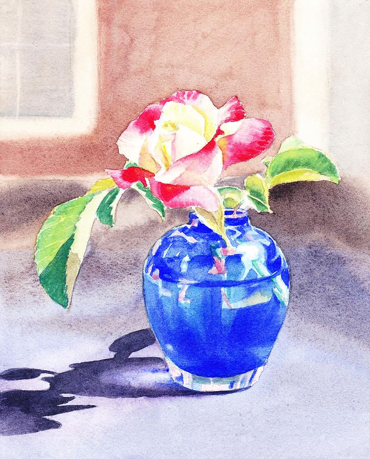 Rose Painting - Rose In The Blue Vase  by Irina Sztukowski