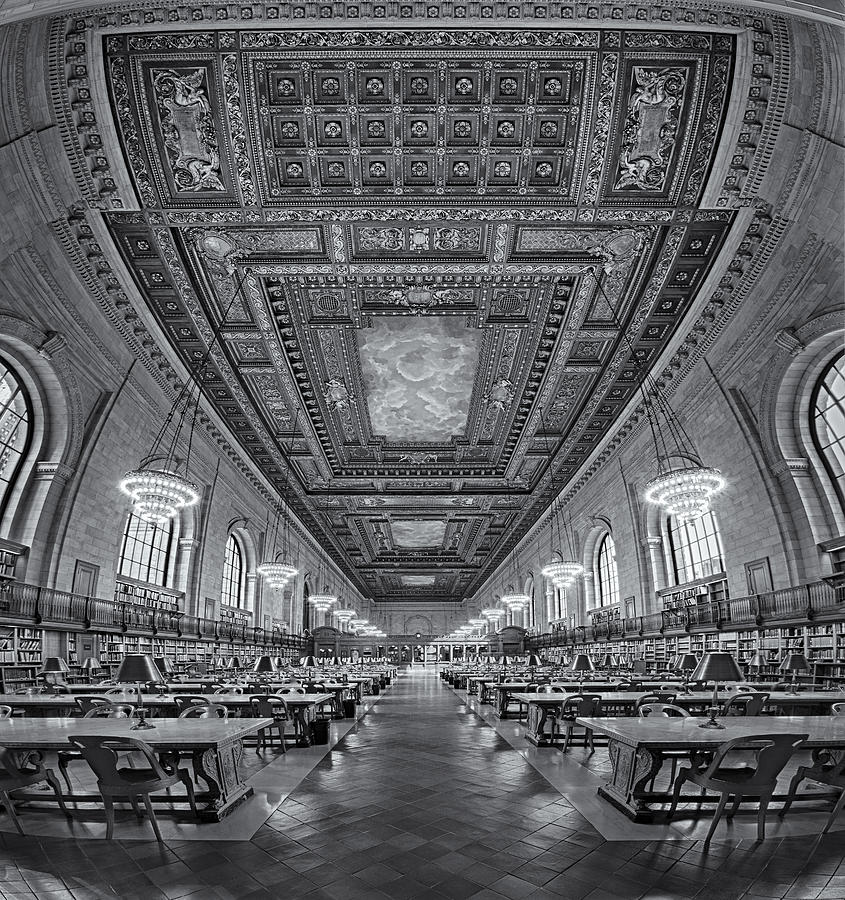Main Branch Photograph - Rose Main Reading Room At The Nypl Bw by Susan Candelario