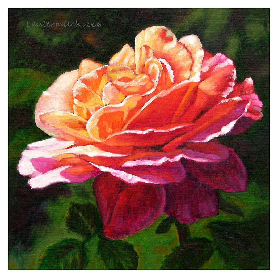 Rose Painting - Rose Petals Catching Sunlight by John Lautermilch