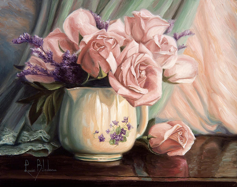 Still Life Painting - Rose Roses by Lucie Bilodeau