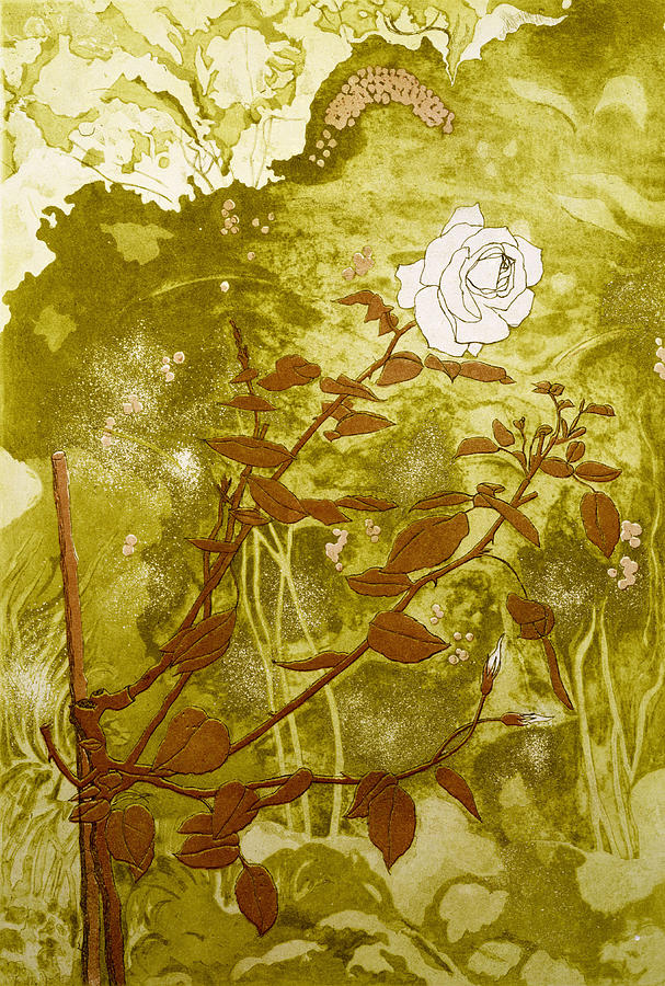 Green Painting - Rose by Valerie Daniel