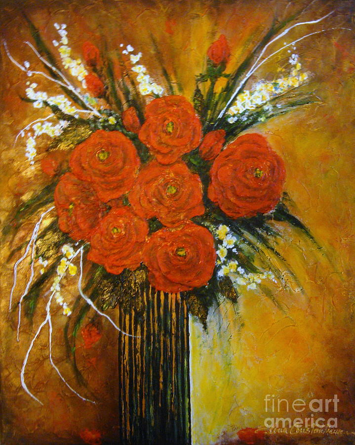 Roses Painting - Rose Whispers... by Elena  Constantinescu