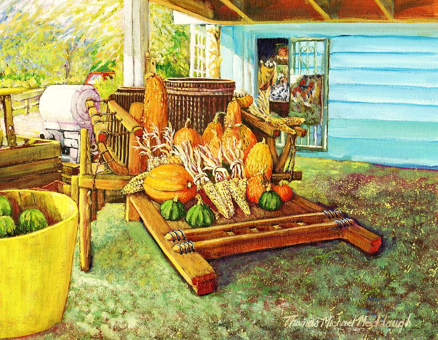 Farm Cart Painting - Rosebank Farm Cart by Thomas Michael Meddaugh