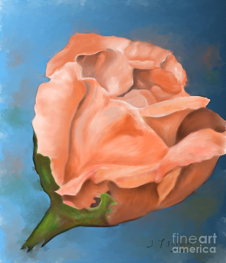 Rosebud Painting - Rosebud Peaches and Cream by Judy Filarecki