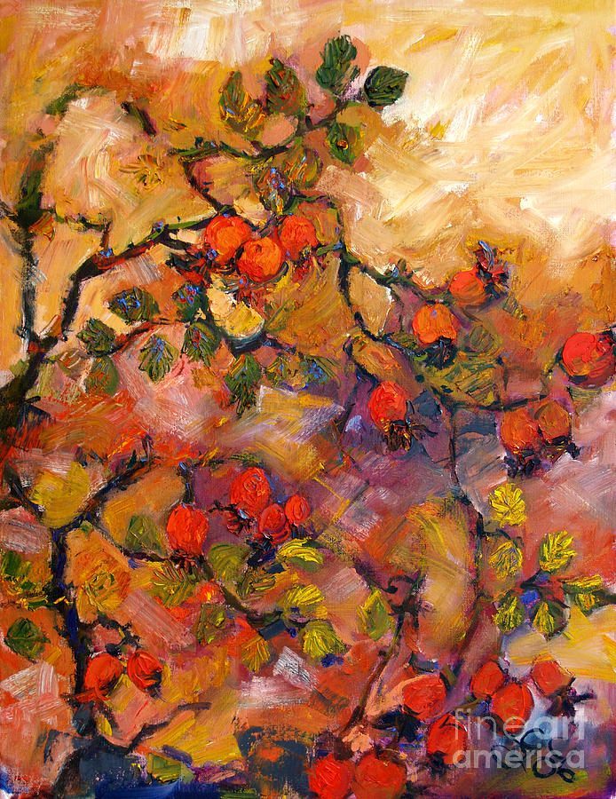 Rosehips Oil Painting by Ginette Callaway