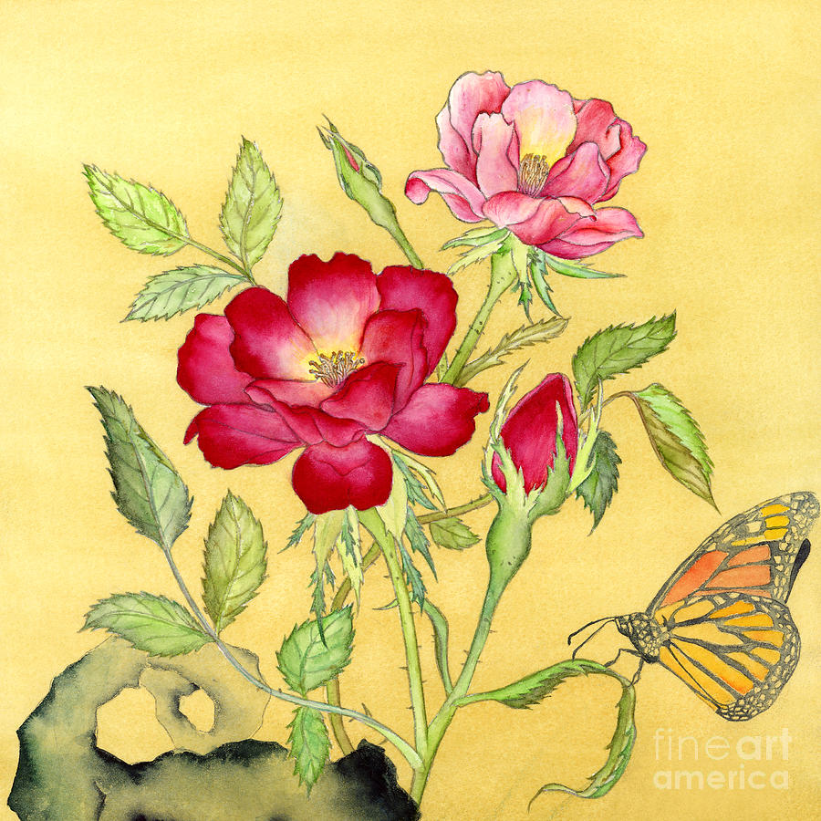 Roses And Butterfly Painting