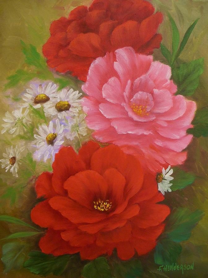 Roses Painting - Roses And Daisies by Francine Henderson