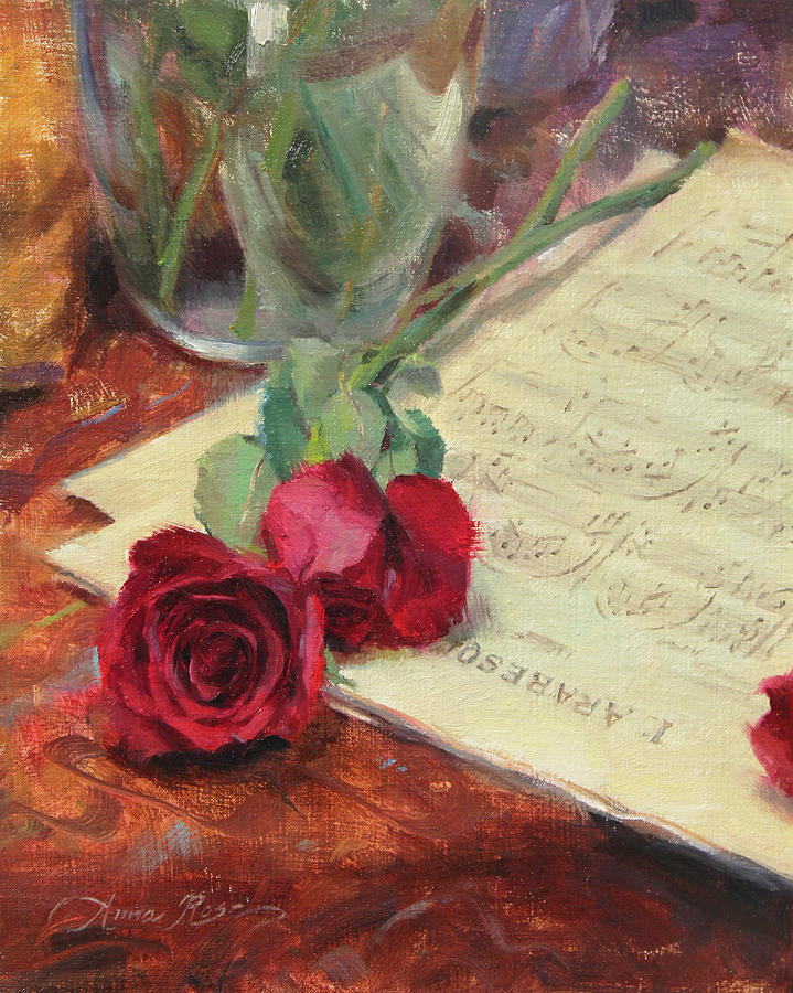 Roses Painting - Roses and Debussy by Anna Rose Bain