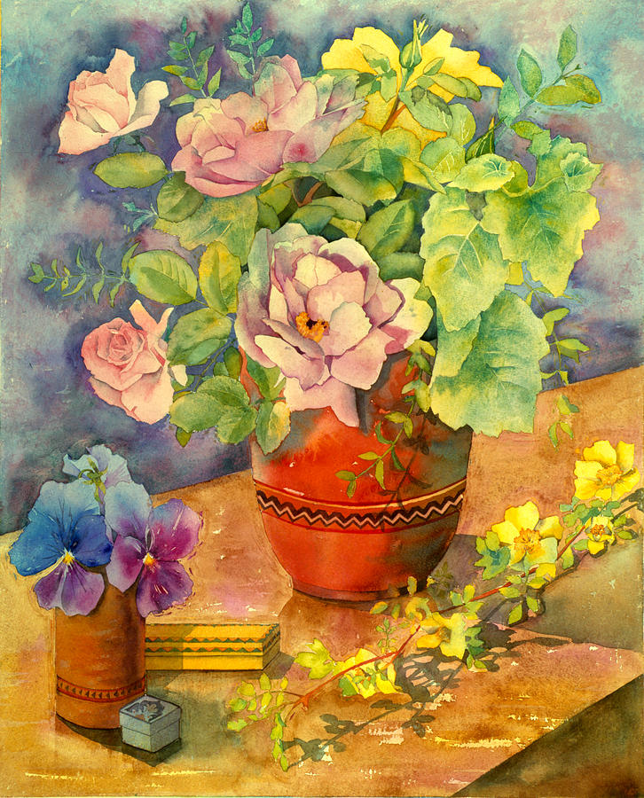 Illustration Photograph - Roses And Pansies by Julia Rowntree