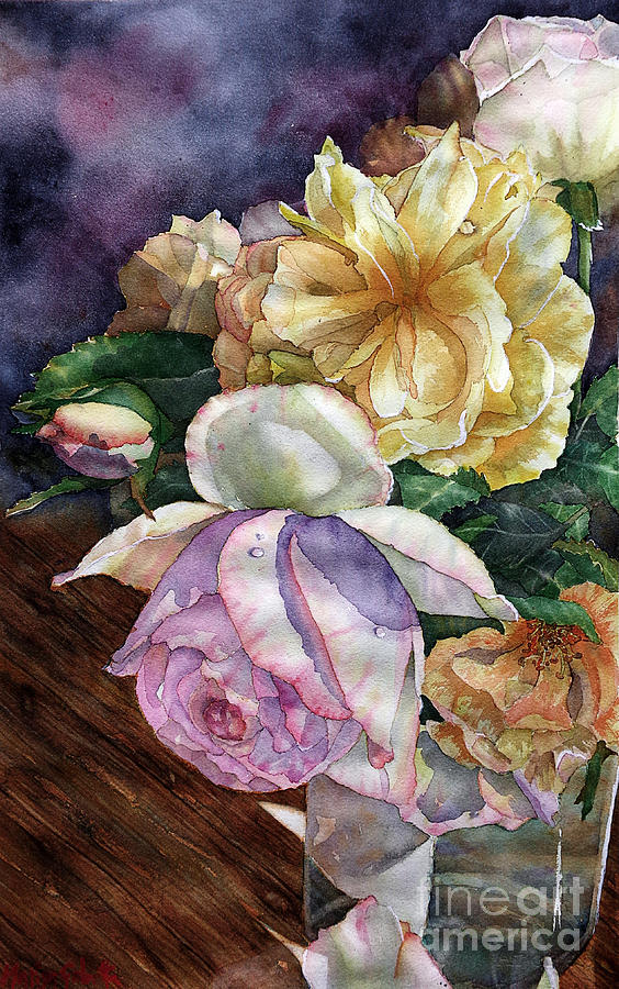 Landscapes Painting - Roses for Mom by Marisa Gabetta