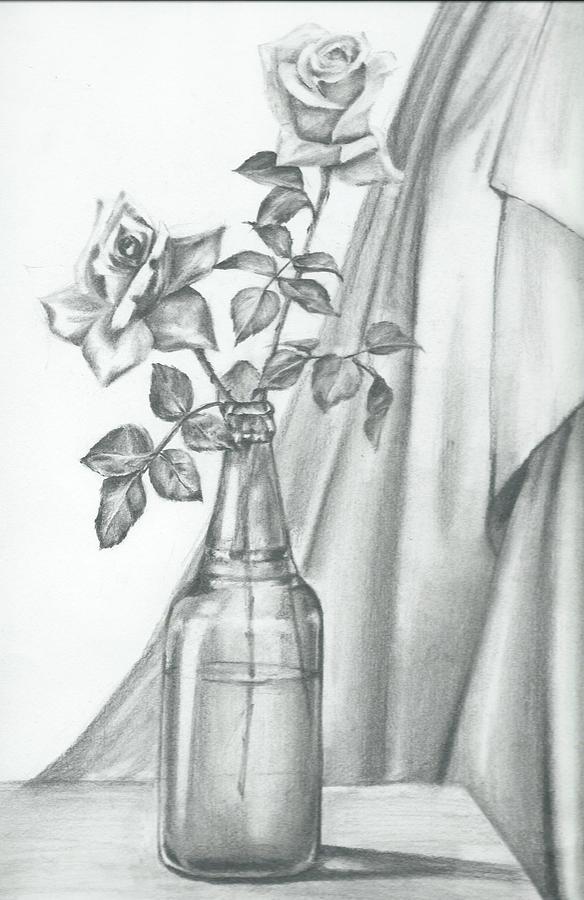 Still Life Drawing - Roses by Gayatri Ketharaman