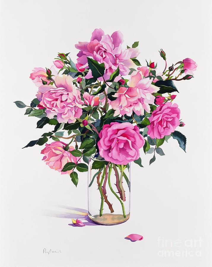 Rose Painting - Roses In A Glass Jar  by Christopher Ryland