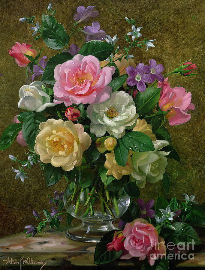 Roses In A Glass Vase Painting By Albert Williams