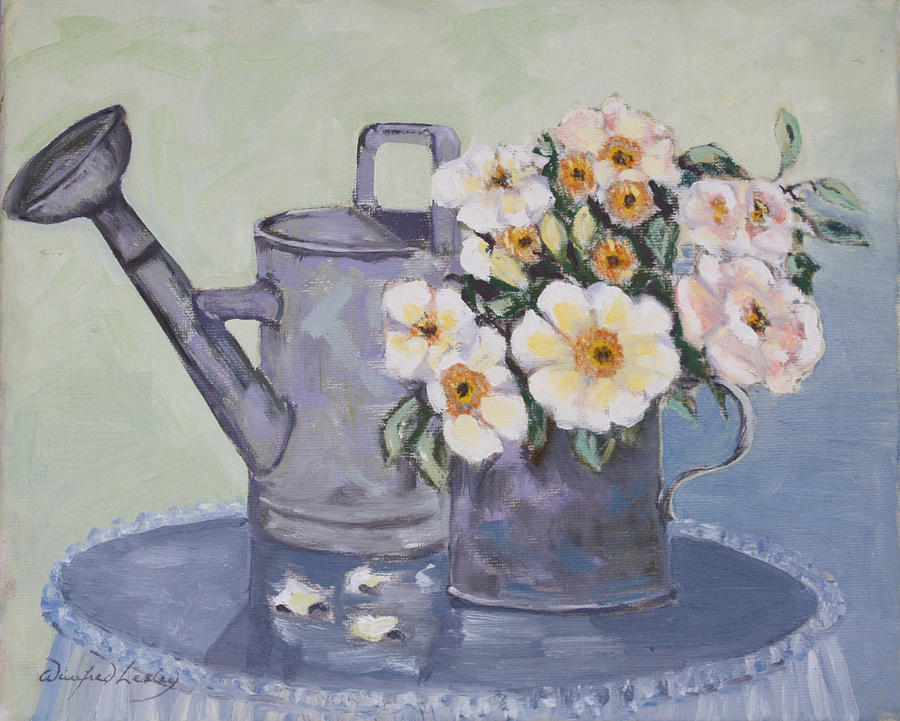 Roses In A Tin Measure Painting by Winifred Lesley