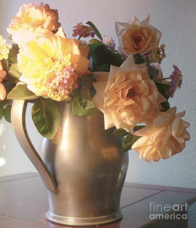 Silver Photograph - Roses In Pewter Vase by Diana Besser