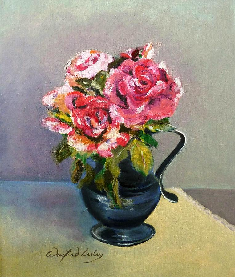 Roses In Pewter Painting by Winifred Lesley