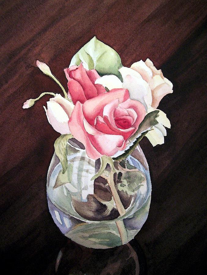 Rose Painting - Roses In The Glass Vase by Irina Sztukowski