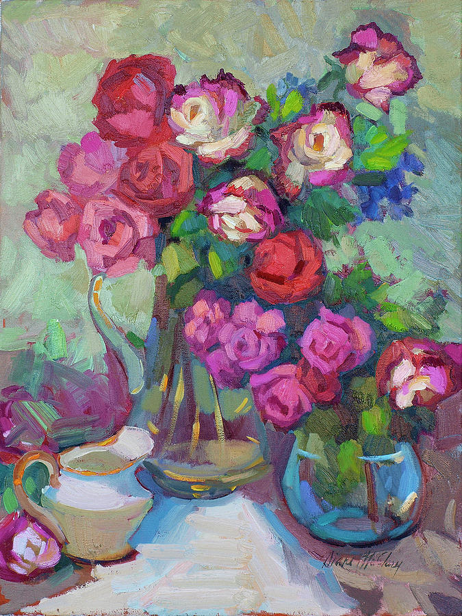 Roses Painting - Roses In Two Vases by Diane McClary