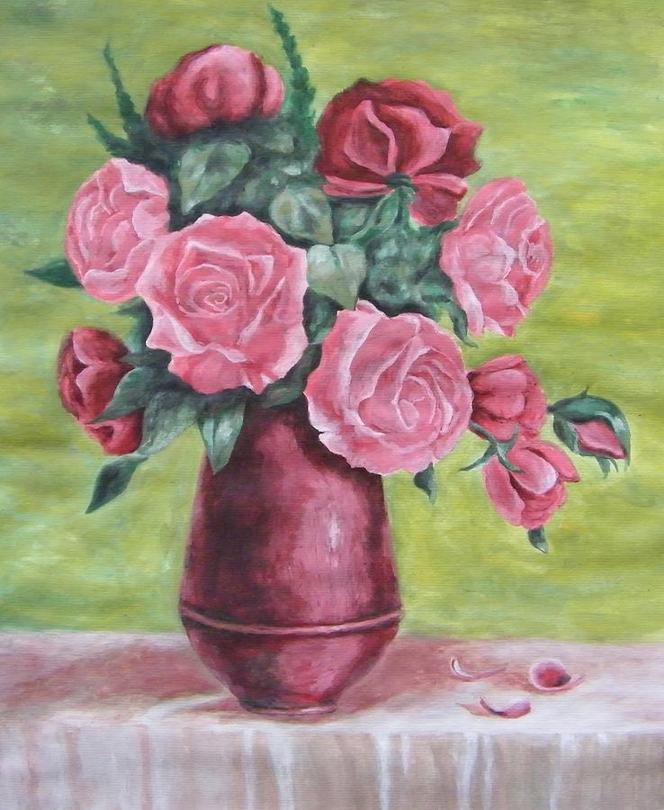 Roses In Vase Painting by Vlatka Kelc