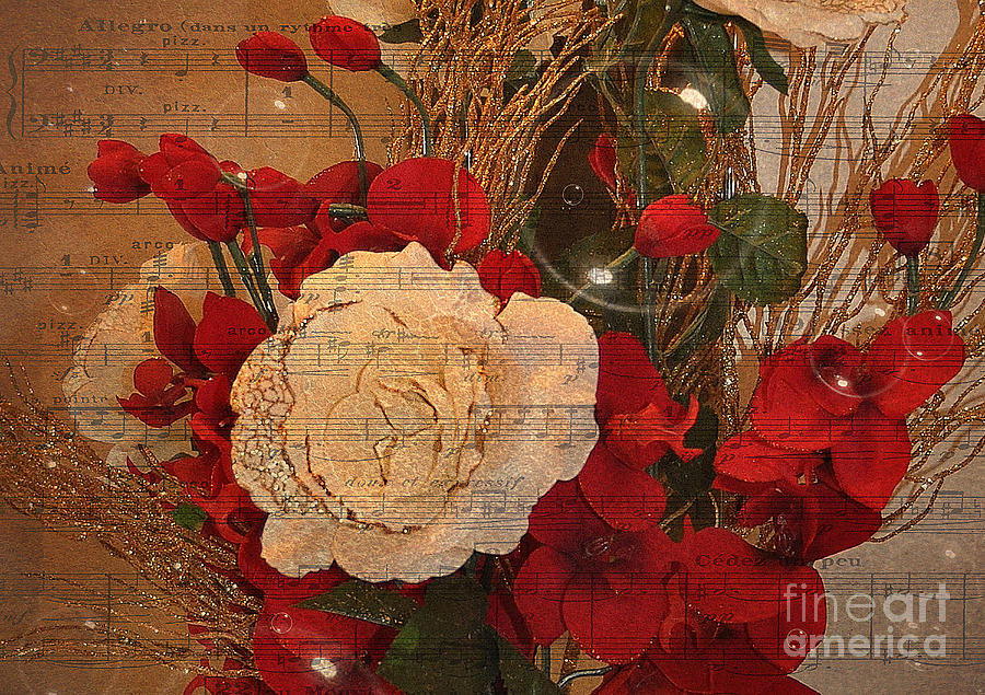 Flowers Photograph - Roses Music Bubbles And Love by Kathy Baccari