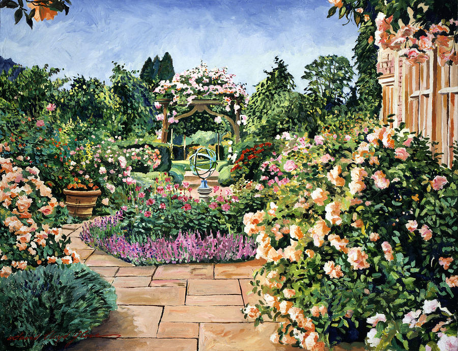 Gardenscape Painting - Roses Orange by David Lloyd Glover