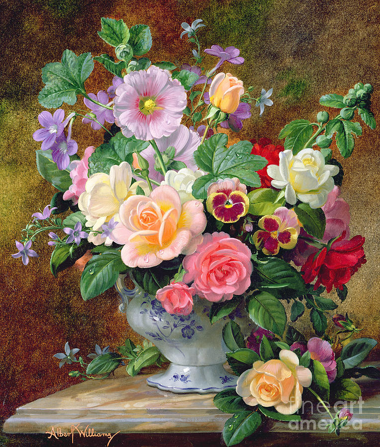 roses pansies and other flowers in a vase painting by