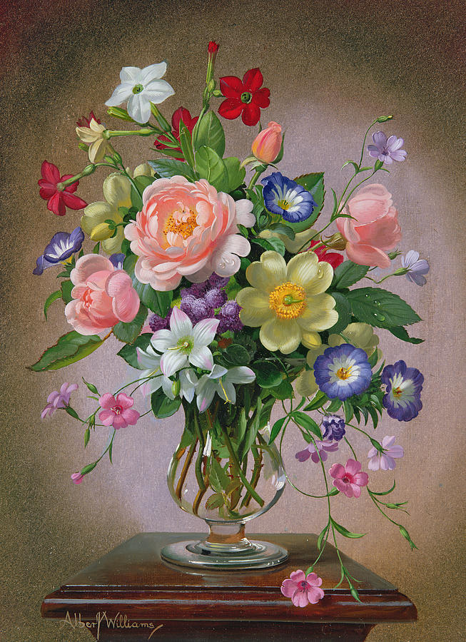Still-life Painting - Roses Peonies And Freesias In A Glass Vase by Albert Williams