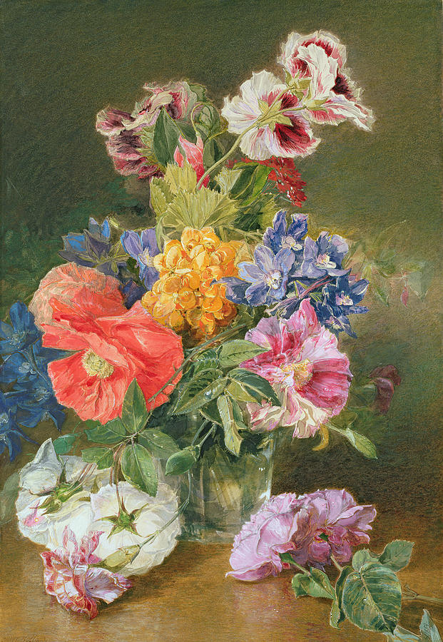 Colorful Painting - Roses Poppy And Pelargonia by James Holland
